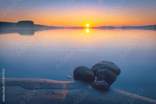 Fotografia Summer night sunset from Kuhmo, Finland.