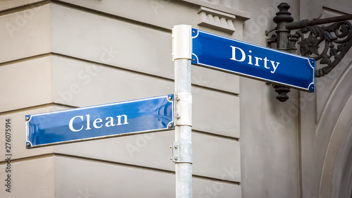 Fototapeta  Street Sign Clean versus Dirty