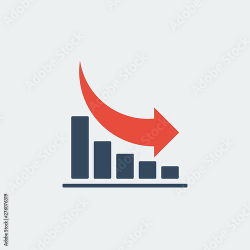 Fotomural  bar chart with rounded red down arrow, vector icon or pictogram