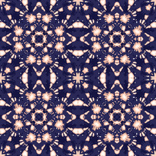 Abstract Vertical Mirrored Coral Tie-Dye Shibori Kaleidoscope Squares On Dark Indigo Backrgound Vector Seamless Pattern