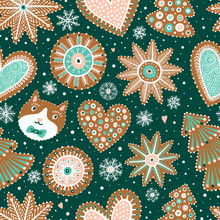 Seamless Pattern With Gingerbread Cookies. Christmas Ornament. Pattern With Different Shapes Gingerbread Cookies On Green Background.