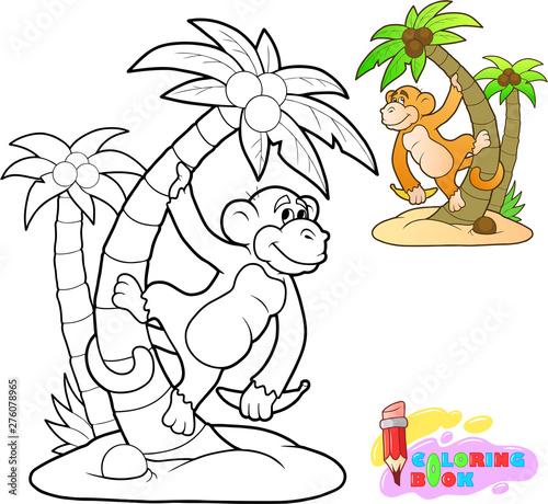 little cartoon cute monkey coloring book funny illustration Wallpaper Mural