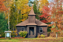 Very Old Log Church At Autumn....