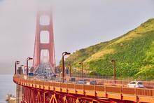 Golden Gate Bridge View At Foggy Morning, San Francisco, California, USA