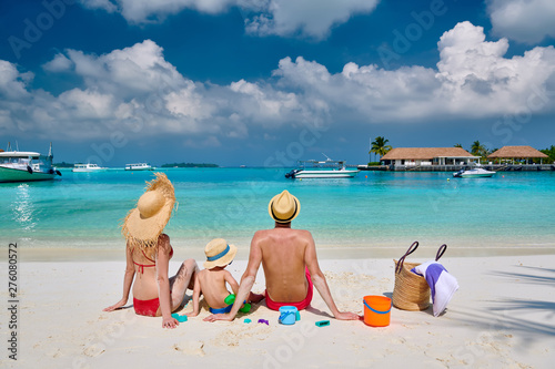 Deurstickers Graffiti collage Family on beach, young couple with three year old boy. Summer vacation at Maldives.