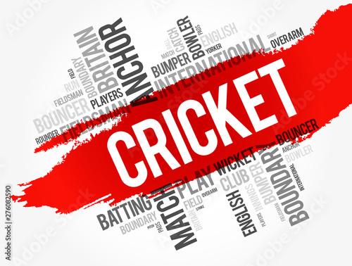 Fotografie, Obraz  Cricket word cloud collage, sport concept background