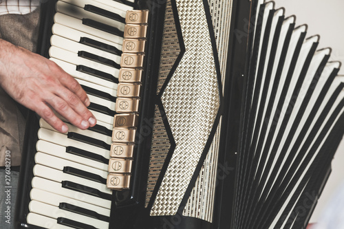 Fotografia, Obraz Live music background. Accordionist