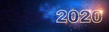 Happy New 2020 Year Winter Holiday Design Templat. Neon Sign. Magic Light Effect.