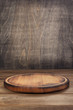 canvas print picture pizza cutting board at rustic wooden table in front