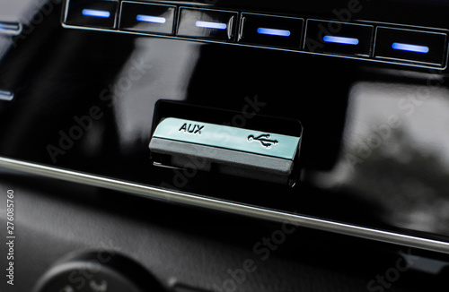 USB and aux ports for connecting multimedia players in luxury car Canvas Print
