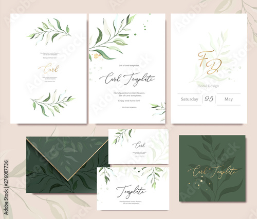 Fotomural Set of card template with herbs, leaves