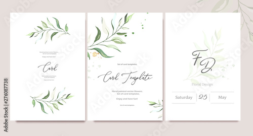 Pinturas sobre lienzo  Set of card template with herbs, leaves