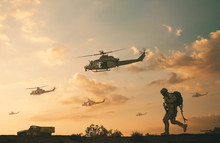 Military Soldiers And Helicopt...