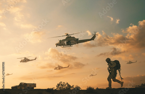 Military soldiers and helicopters and tanks in desert in battlefield Billede på lærred