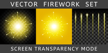 Vector Bright Colorful Yellow Firework
