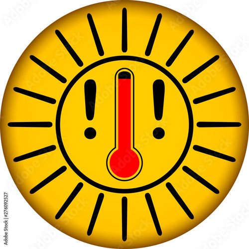 Photo Heat warning sign with thermometer, clean sytyle vector illustration