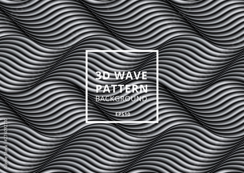 Obraz na plátně Abstract pattern black and white 3D wave or curved lines background and texture