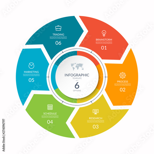 Infographic process chart. Cycle diagram with 6 stages, options, parts. Can be used for report, business analytics, data visualization and presentation.