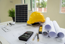 Desk Of Architects Solar Energy Powered Home Green For Reduce Global Warming.