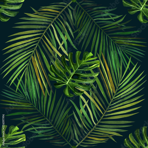 Watercolor pattern with tropical green palm leaves. Seamless pattern Wall mural