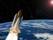 Rocket Above Earth. Stars And Outer Space. The Elements Of This Image Furnished By NASA.