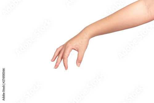 Foto  Woman hand gesturing isolated on white background.