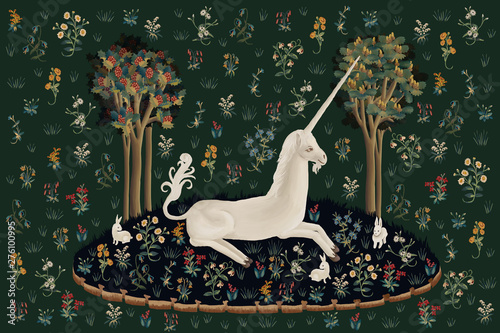 Fotografering Unicorn rest illustration, poster, card in medieval tapestries style