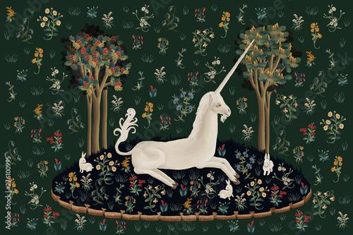 Unicorn rest illustration, poster, card in medieval tapestries style Fototapeta