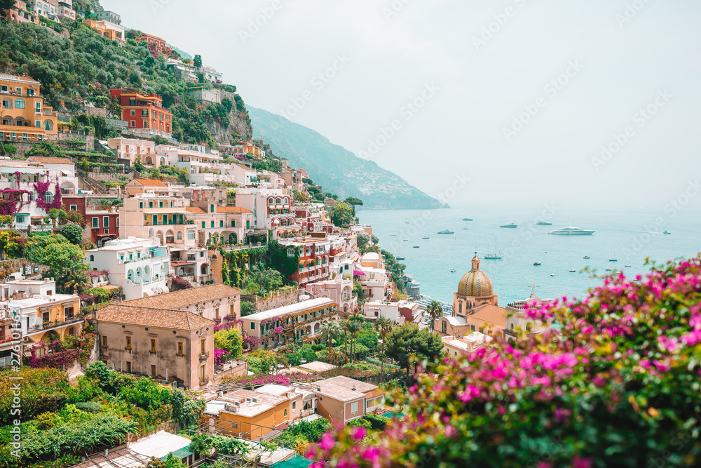 Fototapety, obrazy: View of the town of Positano with flowers