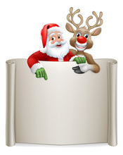 Santa Claus And Christmas Reindeer Cartoon Characters Peeking Over A Scroll Sign And Pointing At It