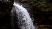 Waterfall Crashing Over Rocks Edge In Forest Slow Motion