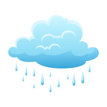 Blue Clouds And Raindrops On White Background.