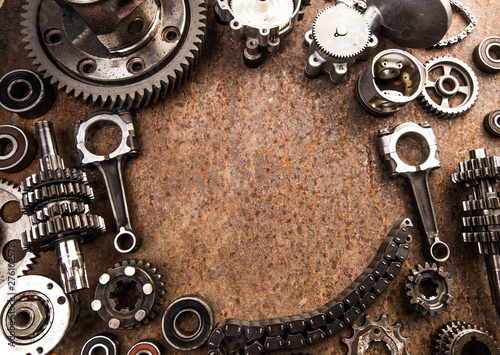 Foto auf AluDibond Boho-Stil Various car parts and accessories, on metal background - Image