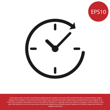 Black Clock With Arrow Icon Isolated On White Background. Time Symbol. Clockwise Rotation Icon Arrow And Time. Vector Illustration