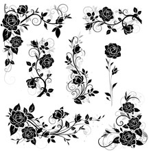 Set Of Decorative Calligraphic Design Elements With Vintage Rose And Leaves Silhouette For Border And Frame Decor. Vector Illustration