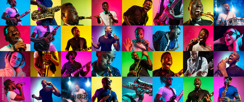 Fototapety, obrazy: Collage of different photos of 5 young people in neon light on multicolored background. Listen to music, sing a song, play sax or guitar. Concept of hobby, inspirness. Colorful portrait of artists.