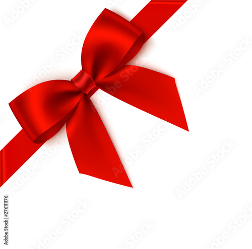 Obraz Decorative red bow with diagonally ribbon on the corner. Vector bow for page decor - fototapety do salonu