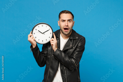 Sad Upset Stylish Young Unshaven Man In Black Leather Jacket
