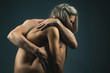 Leinwandbild Motiv Nude couple. Passionate couple kissing, boy and girl. Having sex. Young lovers. People in love. Positions kamasutra. Erotic moments. Concept photo. Secret. Fashion. Hot babe. Party. Night background.