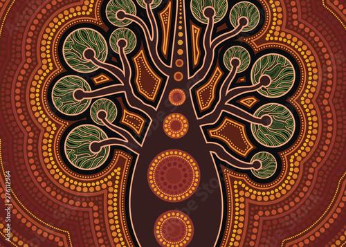 Aboriginal dot art vector painting with tree. Wallpaper Mural