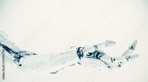 Foto auf Leinwand Gemälde Artificial futuristic robotic arm with asking gesture, 3d render / Robotic arm stretched