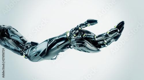 Black artificial futuristic robotic arm with asking gesture, 3d render / Robotic Fototapete