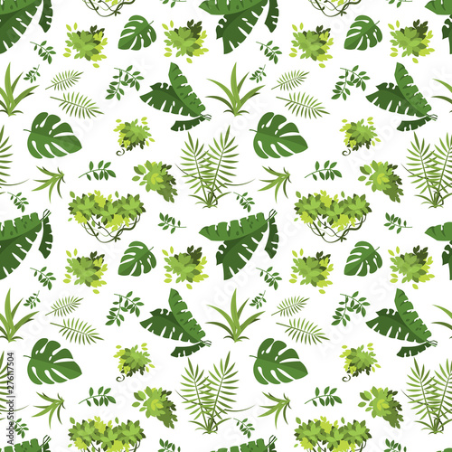 Foto auf Gartenposter Lineale Wachstum Tropical seamless pattern. Jungle exotic leaves vector background. Illustration of seamless pattern green leaf