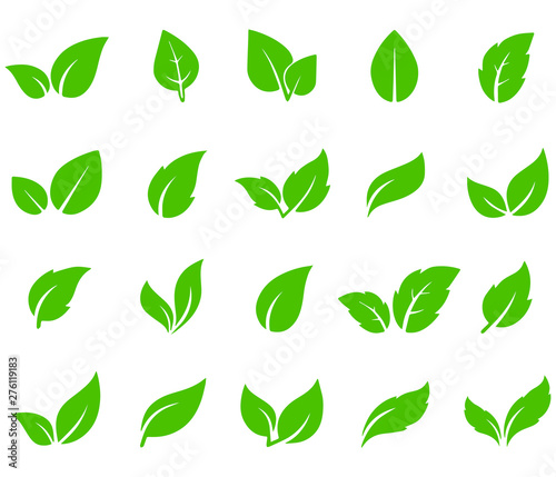 Fototapety, obrazy: Leaves icon vector set isolated on white background. Various shapes of green leaves of trees and plants. Elements for eco and bio logos.