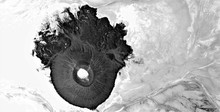 Glioblastoma, Black Gold, Polluted Desert Sand, Black And White Photo, Abstract Photography Of The Deserts Of Africa From The Air, Aerial View, Abstract Expressionism, Contemporary Photographic Art,