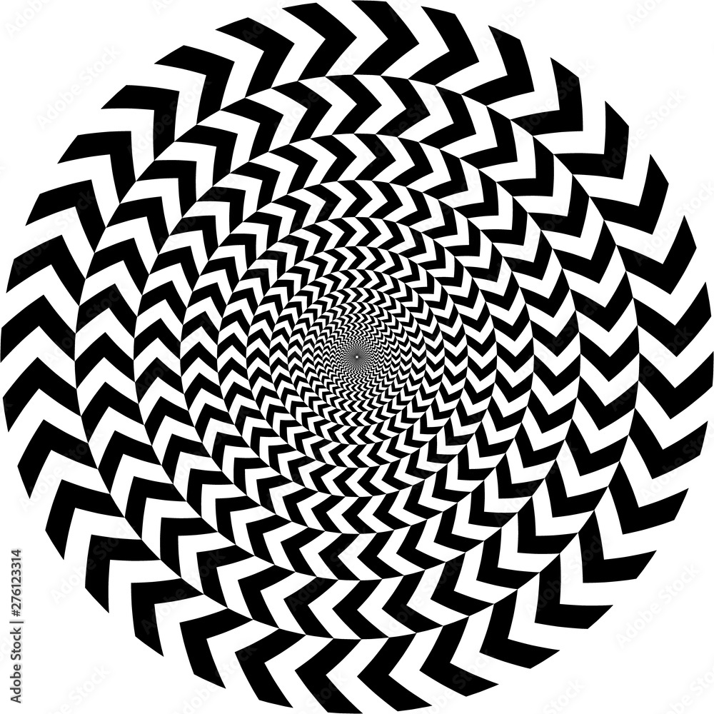 Fototapeta geometric optical illusion. white and black circle pattern