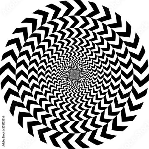 Fotografía geometric optical illusion. white and black circle pattern