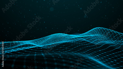 Foto op Aluminium Fractal waves Wave with many dots. Network of particles connected by lines. Abstract digital background. Grid illustration. 3d rendering.