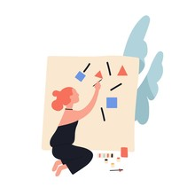 Adorable Cute Readhead Woman Painting Abstract Geometric Shapes On Canvas. Female Contemporary Artist Creating Picture. Young Funny Creative Girl Doing Art. Flat Modern Cartoon Vector Illustration.