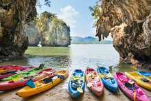 Colorful Kayaks Moored At Sand...